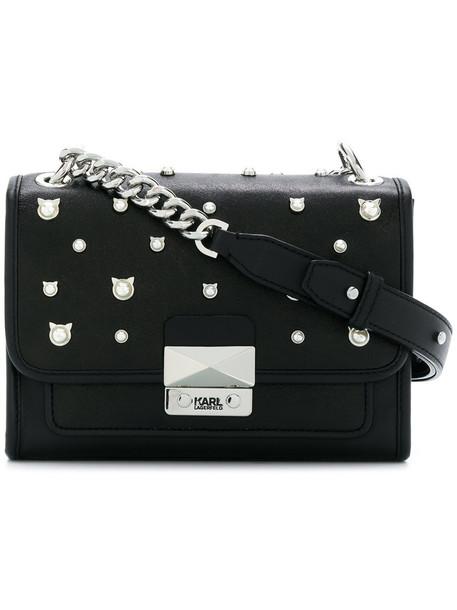 karl lagerfeld women pearl bag shoulder bag leather black