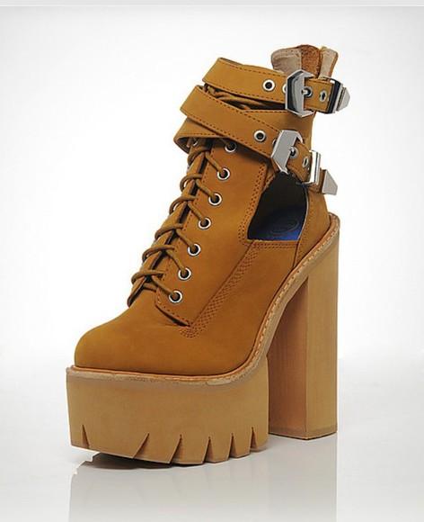 buckles heels boots jeffrey campbell brown platform wheat abner platform boot
