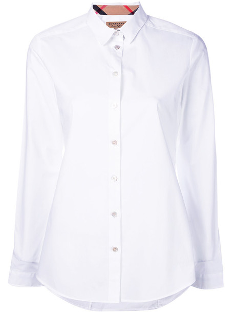 Burberry shirt long women classic spandex white cotton top
