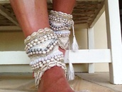 jewels,ankle cuffs,shell,beach,anklet,beaded,embellished,white,lace,crochet,beach wedding,hair accessory,sea creatures