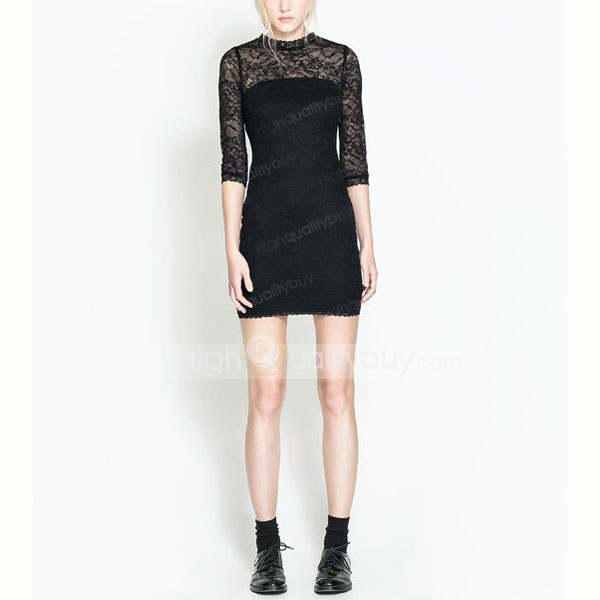 Fashion Half Sleeve Lace Splicing Slim Fit Dress For Women_21.22