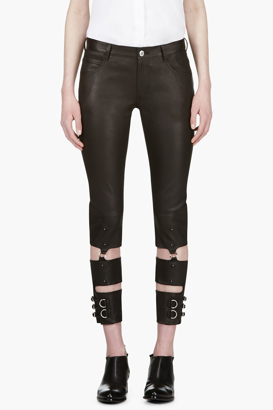undercover black lambskin hardware trousers