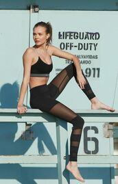 top,leggings,model,josephine skriver,victoria's secret,victoria's secret model,sportswear,sports bra,workout,workout leggings,black leggings,mesh,mesh leggings
