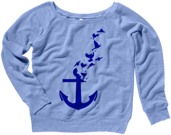 sweater fall outfits anchor anchor shirt nautical birds oversized sweater