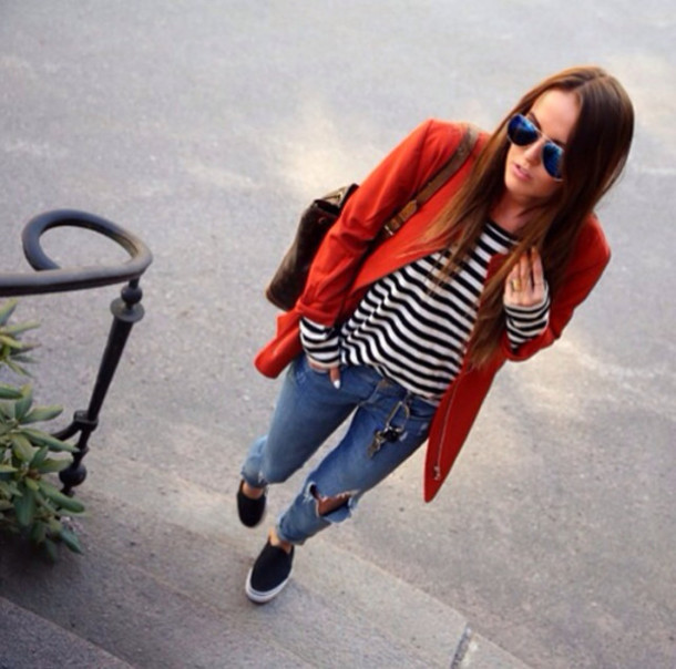 coat striped top streetwear fall outfits top