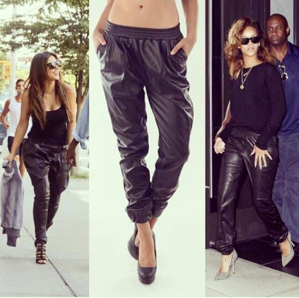 hot trendy leather joggers!