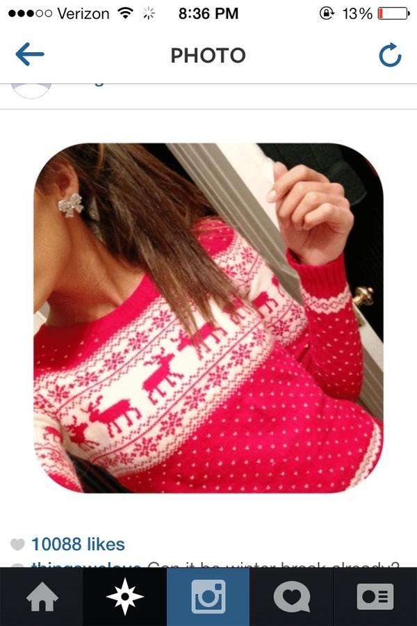 sweater pink christmas sweater dress blouse