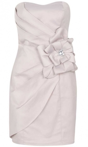 dress,lipsy,side,flowers,bandeau,lipsy london,satin,white,ivory,champagner,bride,bridesmaid