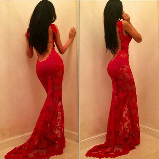 dress gorgeous low back red burgundy prom prom dress mermaid prom dress evening dress red dress long dress lace dress homecoming dress lace sexy tight formal dress formfitting