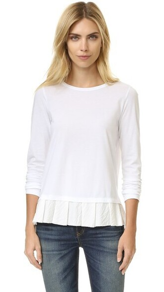 top ruffled top white