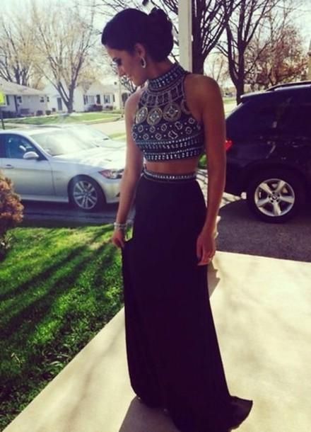 Discount 2015 popular two piece long evening dresses beading online with $125.66/piece