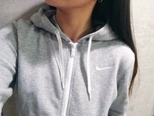 sweater,grey hoodie,nike,grey,hoodie,women,workout,jacket,sweatshirt,nike jacket,coat,zip,simple grey sweater,soft,white,sporty,grey sweater