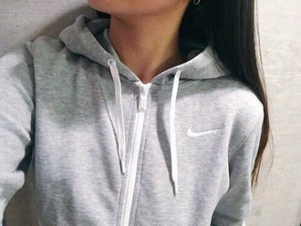 sweater grey hoodie nike grey hoodie women workout jacket sweatshirt nike jacket coat zip simple grey sweater soft white sporty grey sweater