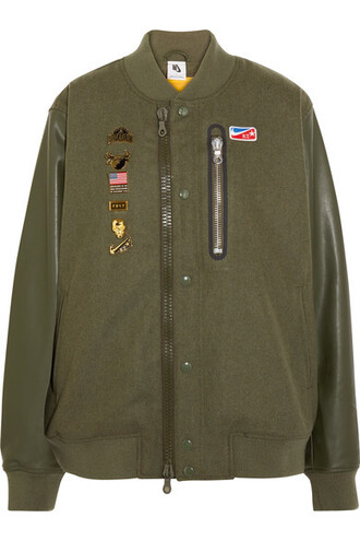 jacket bomber jacket embellished leather wool green army green