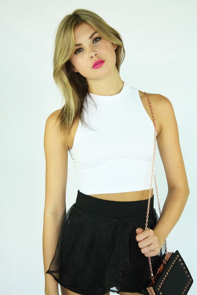 Jaclyn Crop Top-White : Current Fashion Trends & Styles
