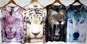 animal top,tank top,shirt,t-shirt,cats,dog,bear,sweater,tiger,lion,animal face print