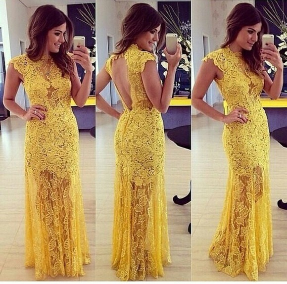 yellow dress backless dress flowers prints transparent dress