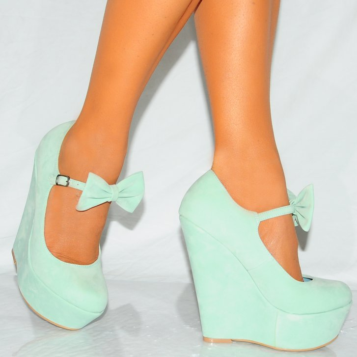 mint green faux suede bow wedge platform high heels