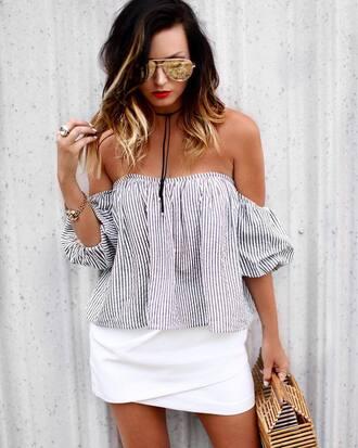 top tumblr stripes striped top off the shoulder off the shoulder top skirt mini skirt white skirt wrap skirt bag sunglasses choker necklace black choker jewels