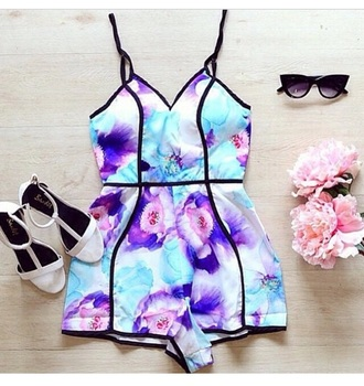 romper jumpsuit outfit shoes style fashion cute high heels high heels sunglasses accessories floral romper one piece