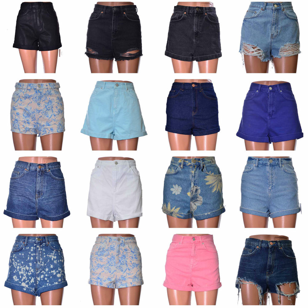 denim jeans shorts high waisted cotton with turned up hem Coloured ...