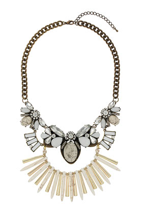 Cream Semi Precious Stone Necklace - Necklaces - Jewelry - Bags & Accessories- Topshop USA