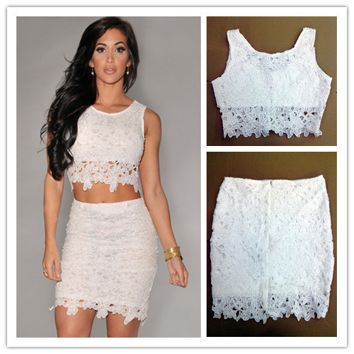 2014 sale Plus size White Graceful Sexy Two piece Lace floral crop ...