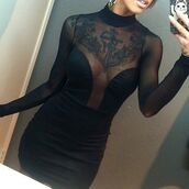 dress,black dress,mesh dress,corset dress,long sleeve dress,mock neck