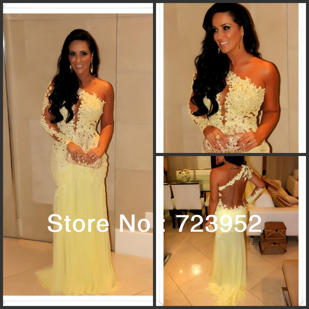 Aliexpress.com : buy vestidos formales 2014 marianne rabelo nascimento sexy one shoulder seethrough lace yellow mermaid evening dress celebrity dress from reliable dress long sleeve tunic dress suppliers on suzhou aee wedding dress co. , ltd