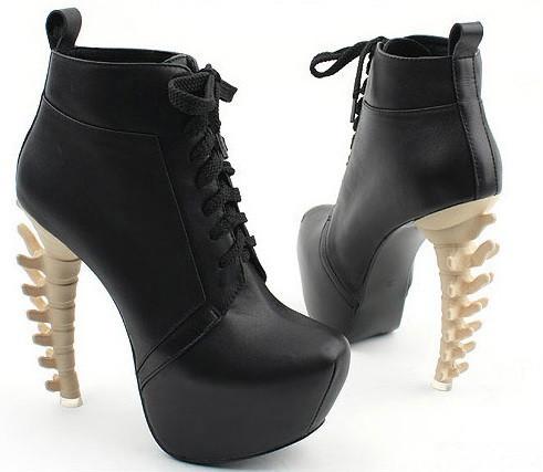 Skeleton spine high heels booties (black/beige) – glamzelle