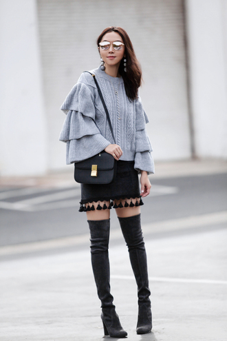 fit fab fun mom blogger grey sweater bell sleeve sweater shoulder bag black bag mini skirt thigh high boots ruffle sweater knitted sweater fall outfits winter outfits