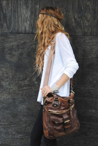 Bag: leather, purse, messenger bag, vintage, satchel bag, hippie ...