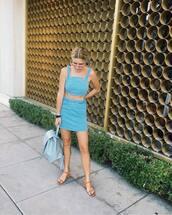skirt,tumblr,mini skirt,blue skirt,denim skirt,matching set,top,crop tops,blue top,summer outfits,sandals,mid heel sandals,backpack,shoes
