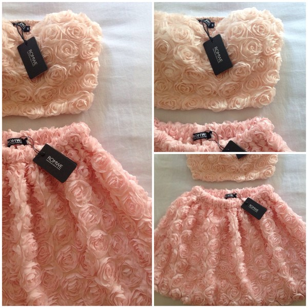 skirt roses ruffle pink peach bustier peach skirt pink bra pink skirt summer two-piece two-piece floral flowers romwe