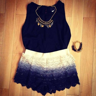 shirt black tank top shorts jewels lace white summer outfits spring purple crochet crochet shorts ombre purple ombre lace shorts dark purple light purple cream gold jewles gold jewelry