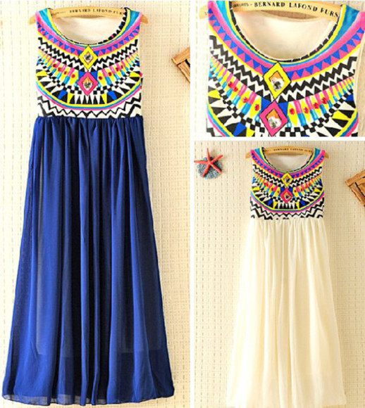 dress tribal maxi dress multi-color blue white