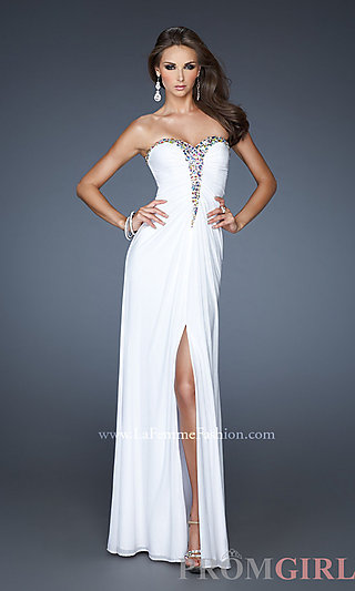 Long Strapless Dress for Prom, La Femme Strapless Gown- PromGirl