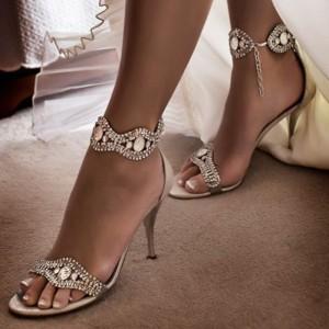 Champagne Wedding Sandals Open Toe Rhinestone Ankle Strap Stiletto Heels