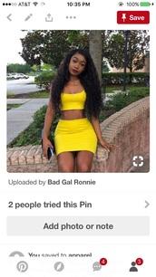 skirt,yellow 2 piece set