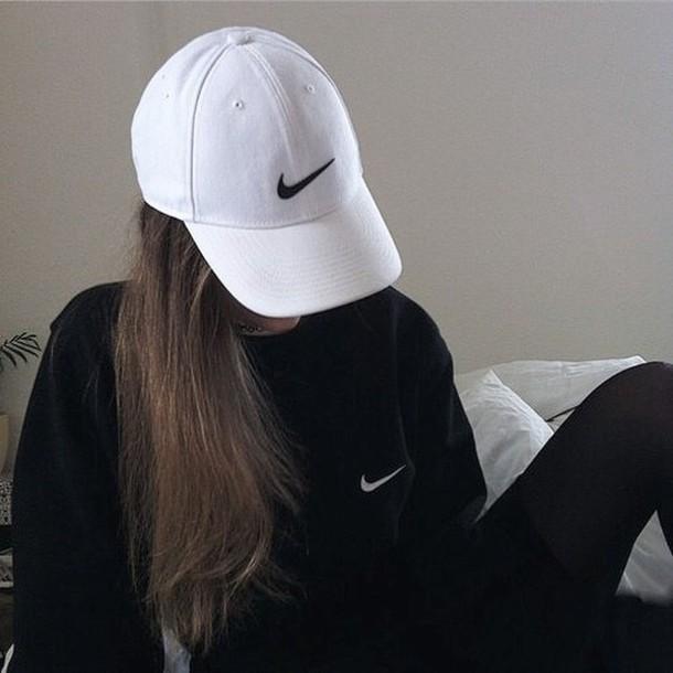 hat nike cap grunge soft grunge tumblr outfit sweater sweatshirt black  black nike cap white baseball 0fcff782bd4