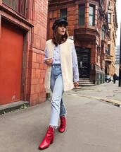 shoes,tumblr,boots,ankle boots,red boots,denim,jeans,blue jeans,vest,white vest,shirt,blue shirt