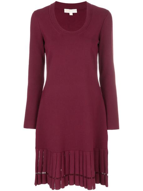 dress pleated women spandex purple pink