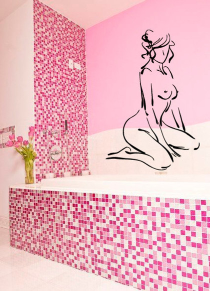 model girl jewels vinyl decal woman people bathroom spa salon