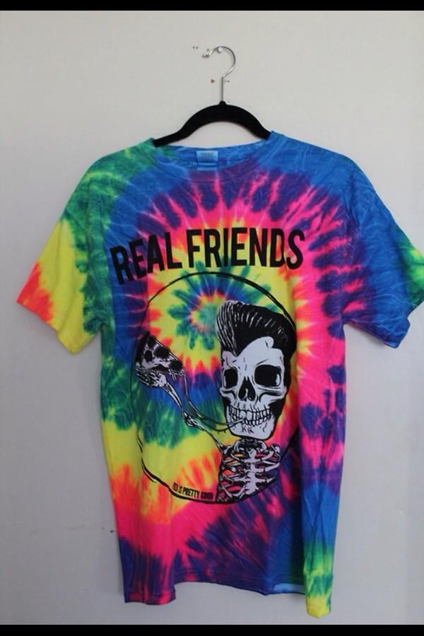 shirt t-shirt tie dye shirt multicolor skeleton skeleton pizza real friends tie dye