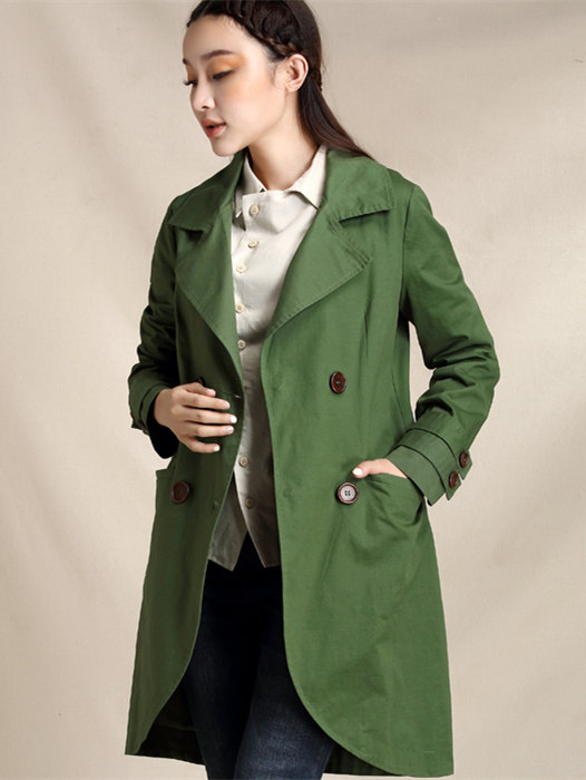 coat for women, autumn trench, cotton coat, green coat, casual ...