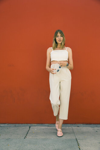 pants tumblr cropped pants white pants co ord matching set top white top shoes mules pink shoes