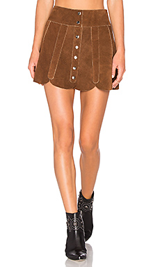 Understated Leather x REVOLVE Scalloped Snap Skirt in Tan from Revolve.com