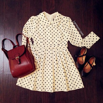 dress larmoni polka dots dress black and white dress black heels black flats collard dress polka dots preppy hipster bag