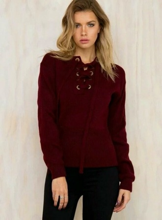 sweater burgundy sweater lace up jumper