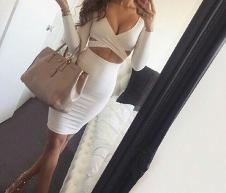 dress midi dress top white crop tops skirt long sleeves